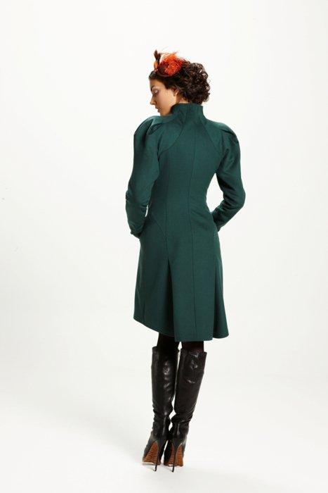 """Пальто с рукавом """"веер"""", изумруд"""