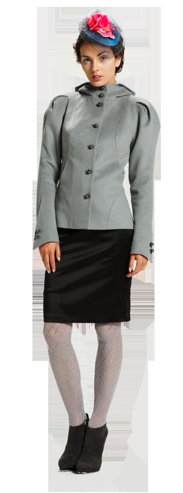 Жакет с рукавом веер, серый