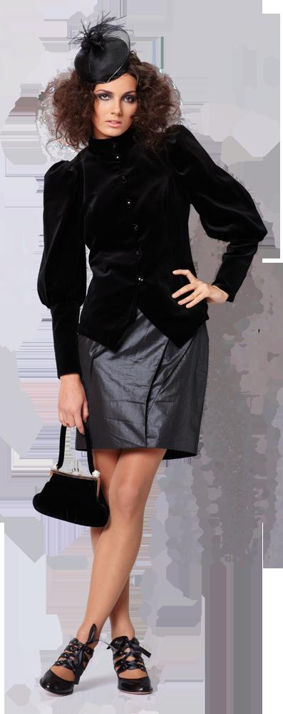 Жакет с пышными рукавами и узким манжетом бархатный, черный