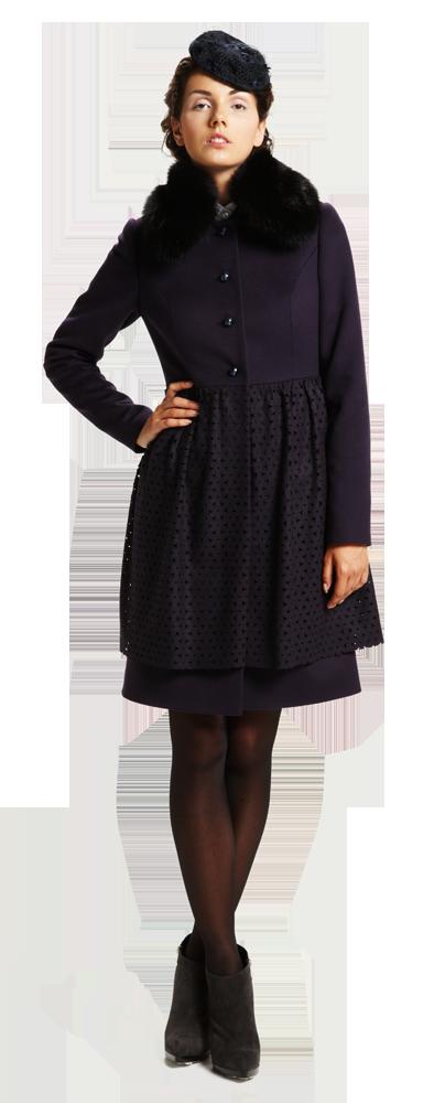 Пальто с юбкой вуаль, фиолетовое, с меховым воротником.