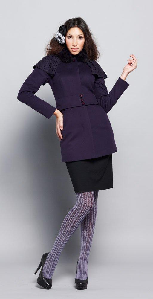 Пальто с крылышками,меховой воротник,сине-фиолетовое