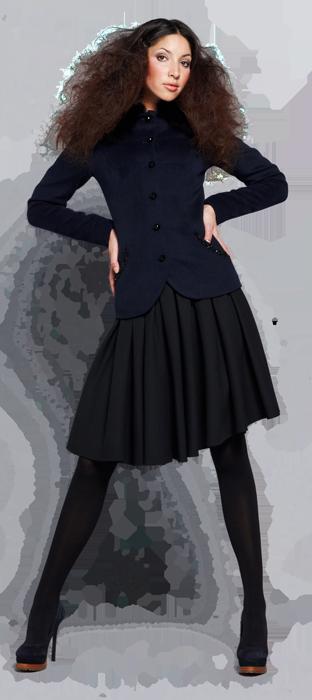 Жакет из ворсовой ткани, с меховым воротником, темно-синего цвета