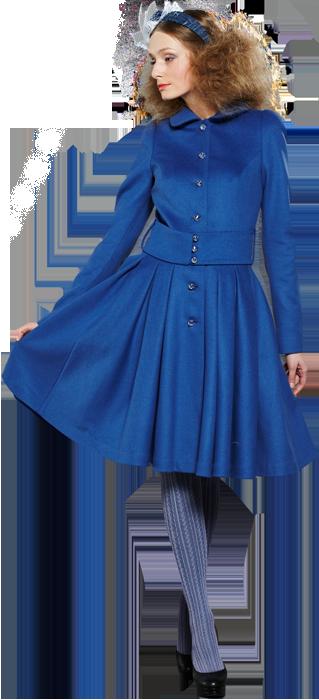 Пальто с юбкой из складок, синее.