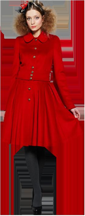 Пальто с юбкой из складок, красное.