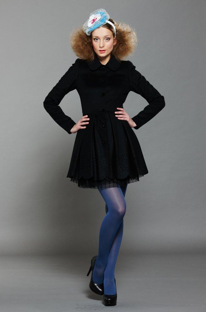 Пальто-платье тюльпанчик с короткой юбкой, черное
