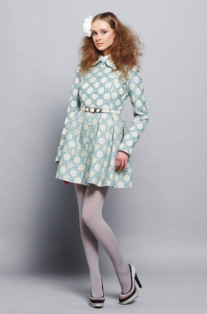 """Пальто-платье """"тюльпанчик"""" с короткой юбкой, жаккард."""