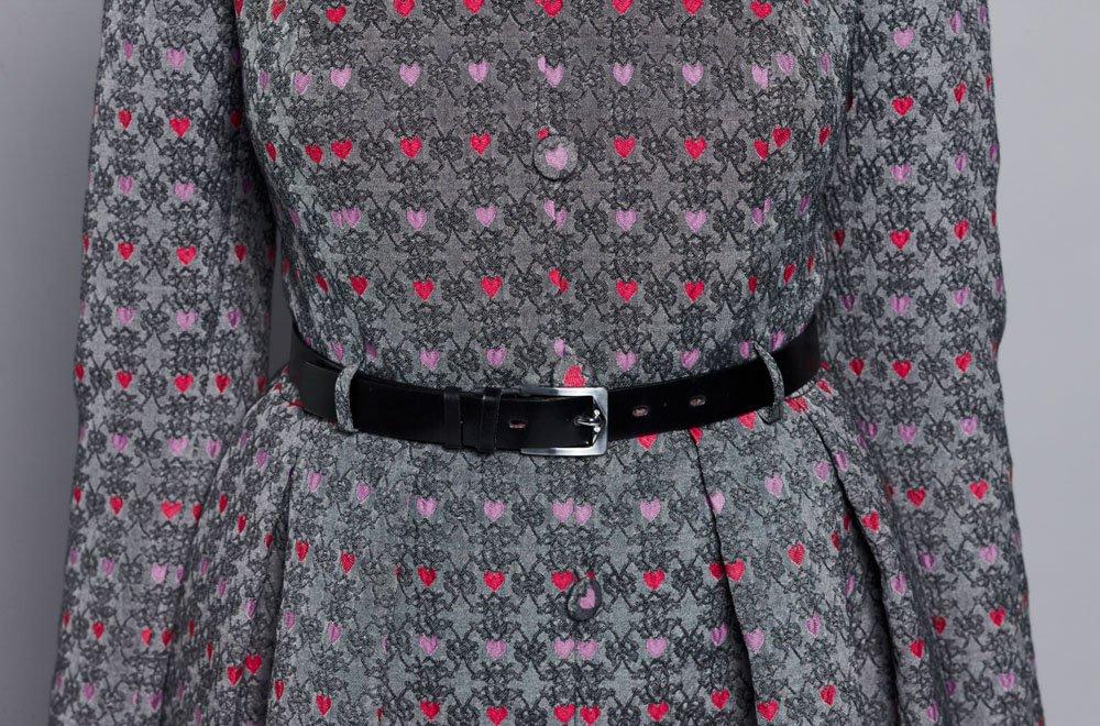 """Пальто-платье """"тюльпанчик"""" с короткой юбкой, жаккард в сердечко."""