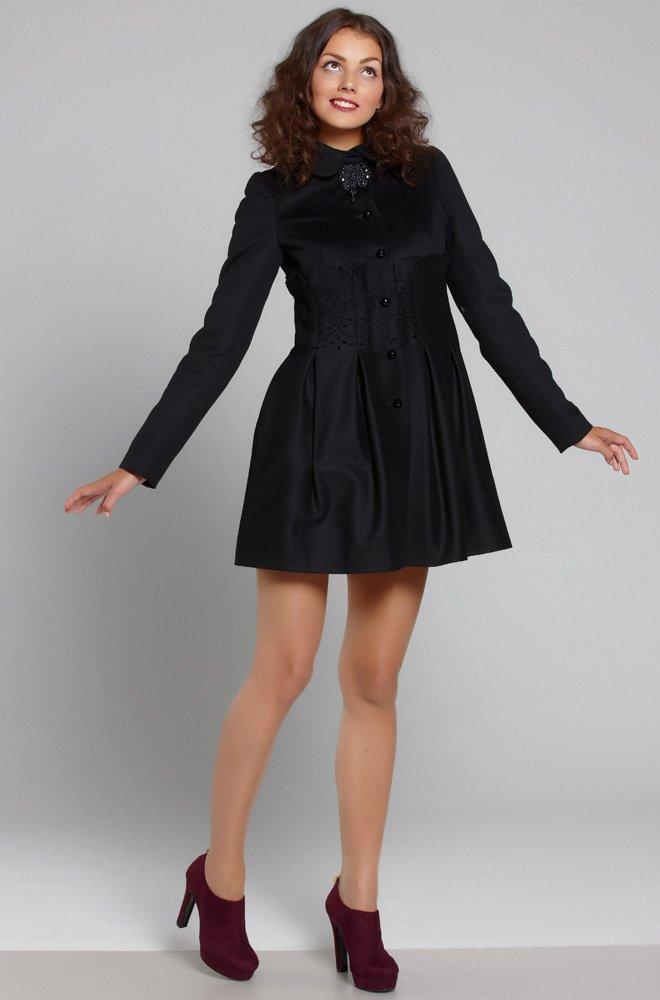 Пальто из итальянской шерсти с пышной короткой юбочкой