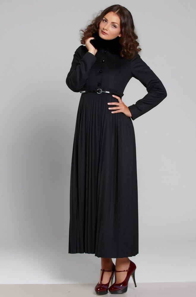 Пальто длины maxi с плиссированной юбкой черное