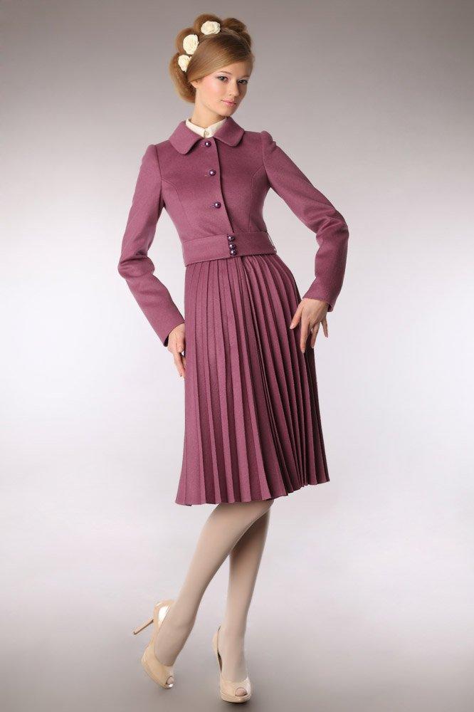 Пальто с юбкой-гофре, цвета розовой пудры