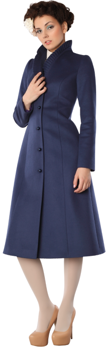 Пальто maxi-лайн с плиссе на воротнике, синего цвета