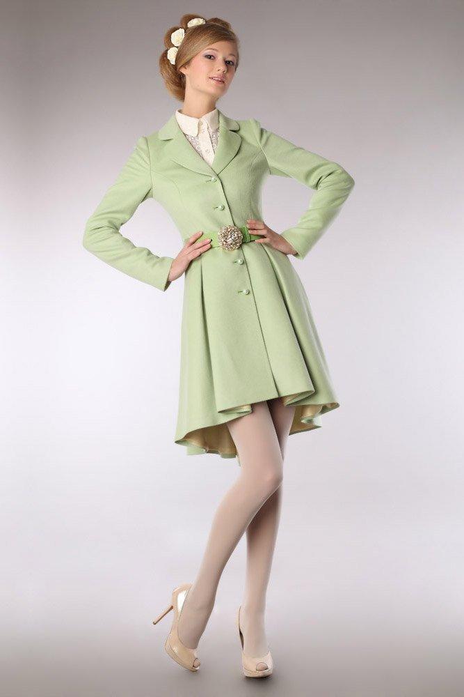 Пальто-камзол из кашемира, светло-зелёного цвета