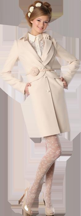 Пальто с двойным бортом, сливочного цвета