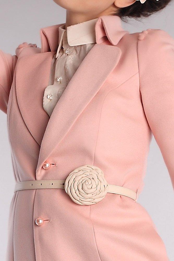 Пальто с шариками по окату рукава, персиковое