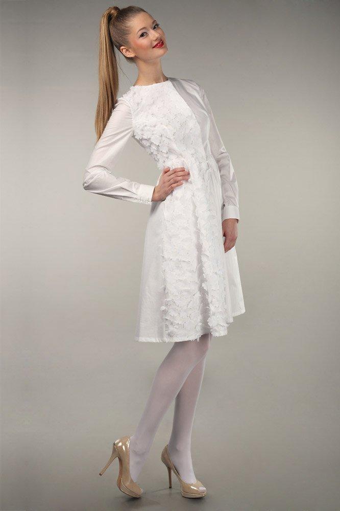 Асимметричное пальто-платье из хлопка с цветами из органзы