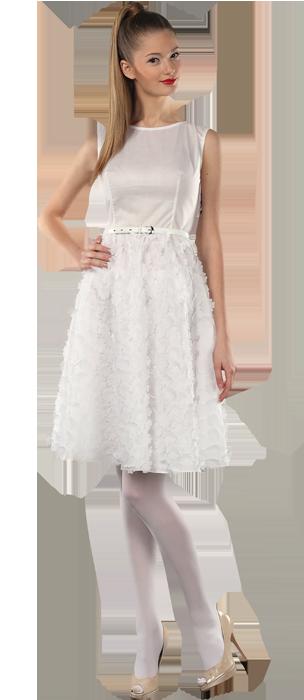 Платье с юбкой-солнце, белого цвета