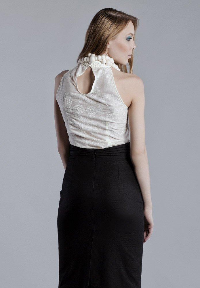 Блуза из хлопкового шитья с американской проймой, сливочная.