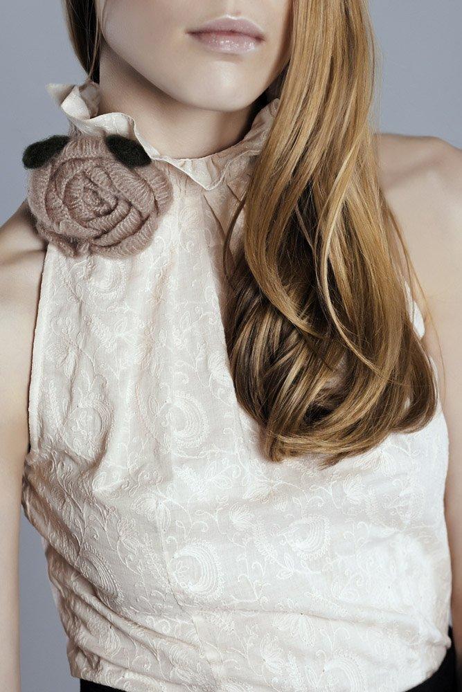 Блуза из хлопкового шитья с американской проймой, розовая