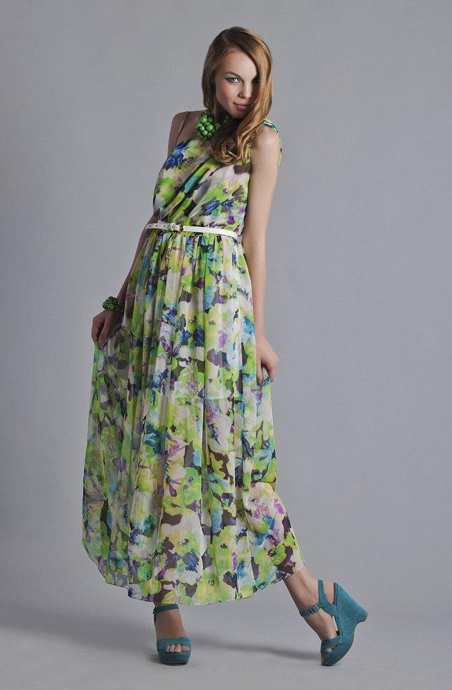 Платье на одно плечо из цветного шифона