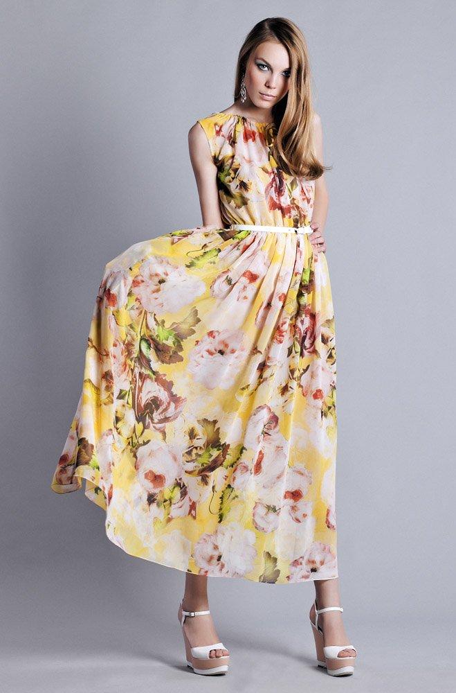 Платье из цветного шифона в пол, с разрезом сверху