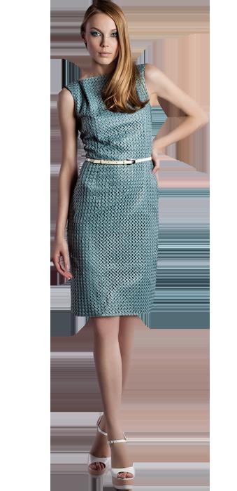 Хлопковое платье-футляр  с бирюзовой сеткой