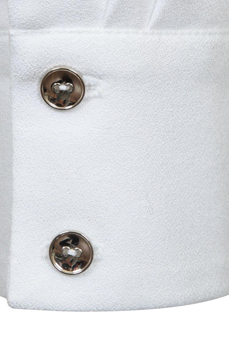 Блуза белая с декоративной вставкой плиссе серебряного цвета на спинке