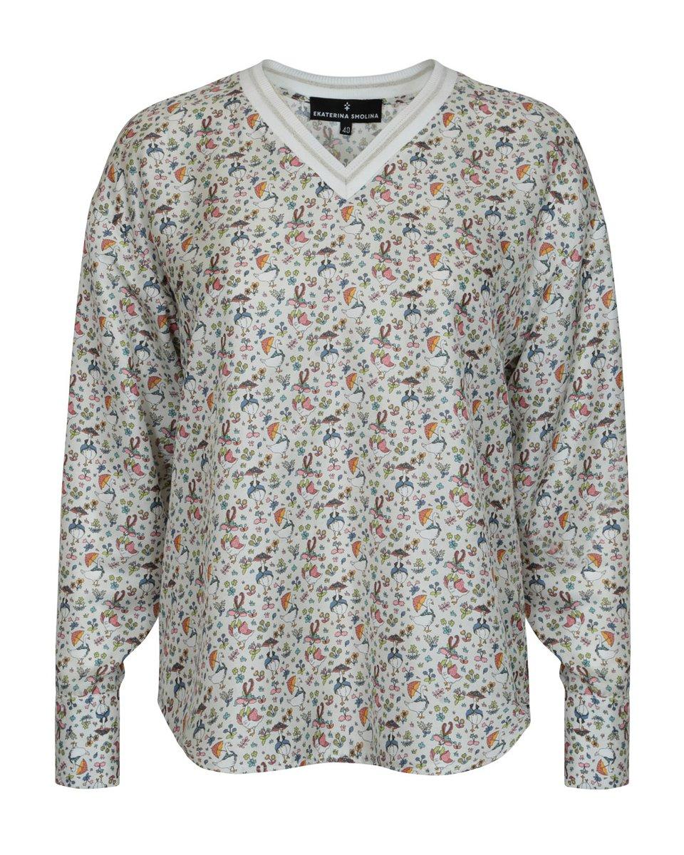 """Блуза белого цвета с принтом """"Гуси"""""""