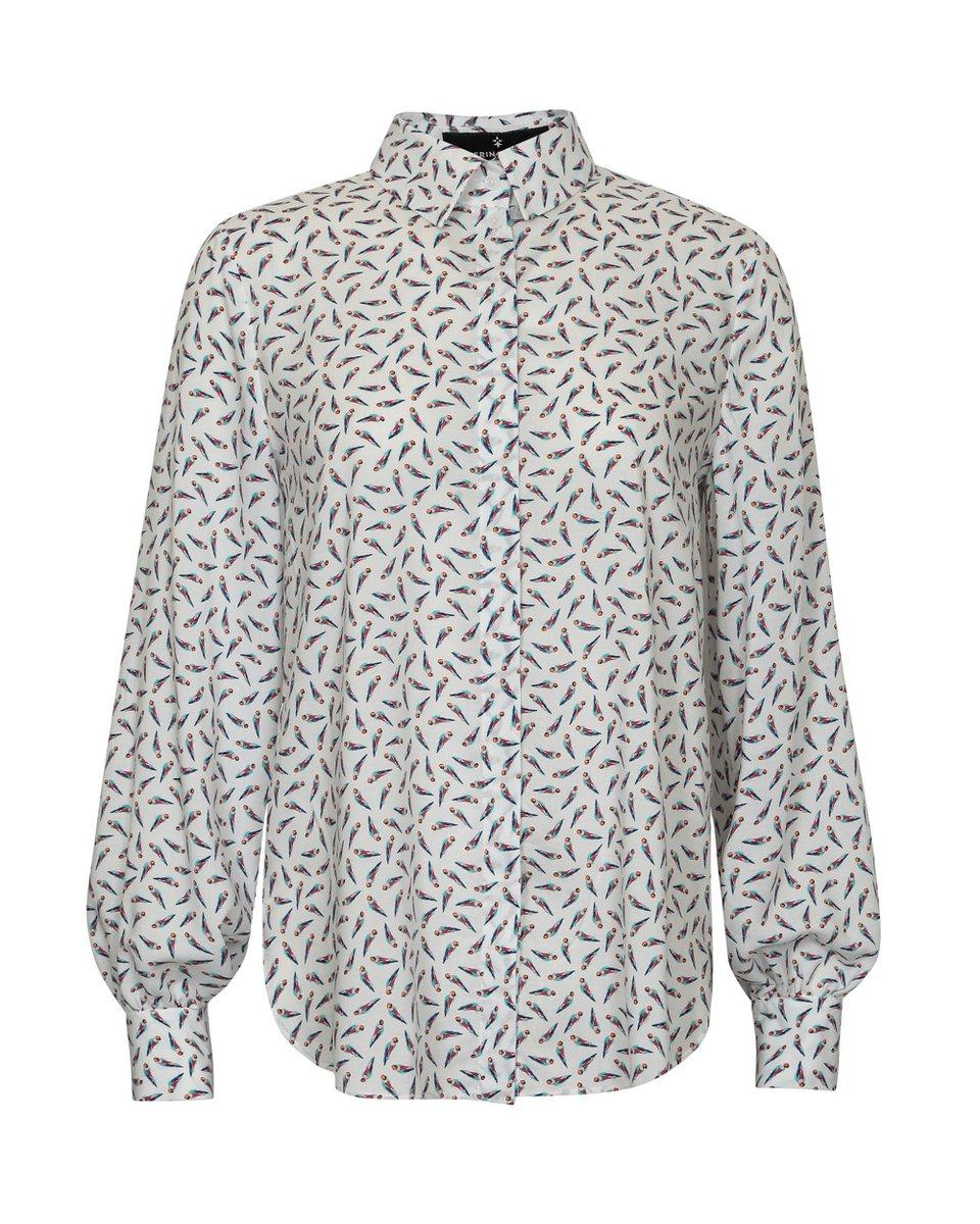 """Блуза белого цвета, принт """"Попугаи"""""""