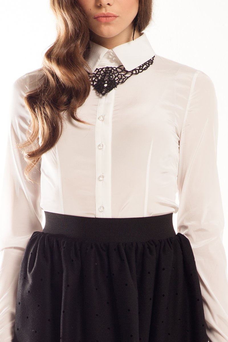 Блуза-боди, белая, французский поцелуй