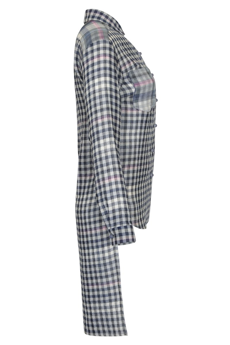 Блуза из клетчатой ткани с удлиненной спинкой