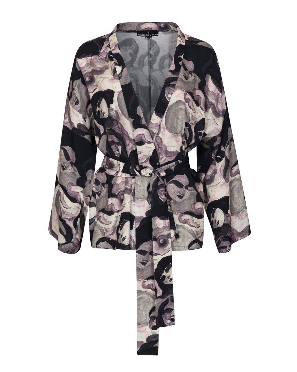 """Блуза-кимоно с принтом """"Лица"""""""