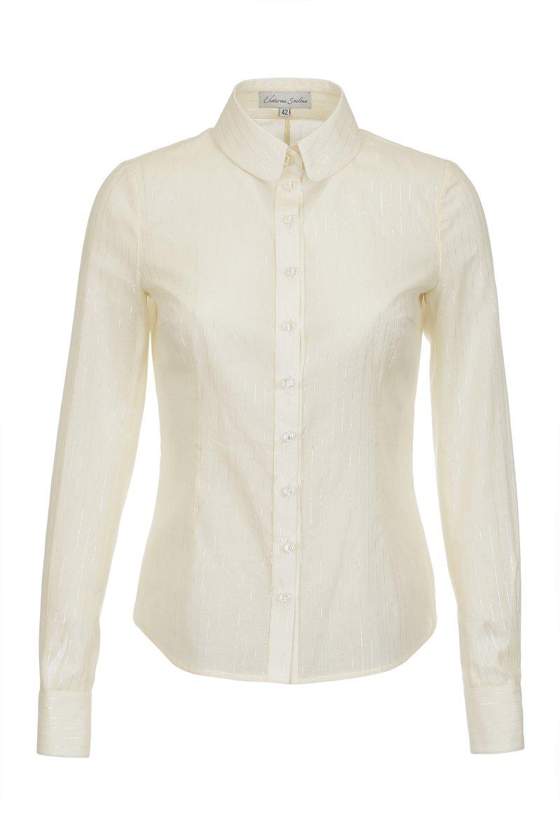 Блуза классического кроя, из тонкого хлопка