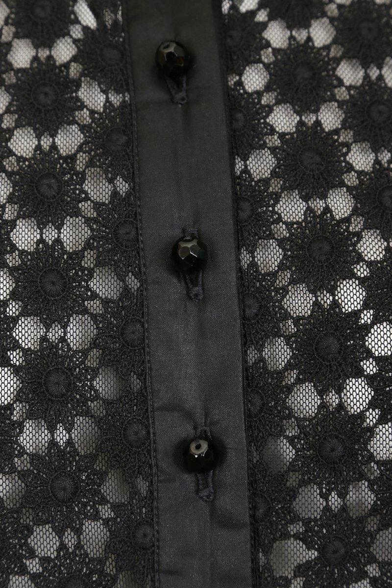 Блуза кружевная, черная