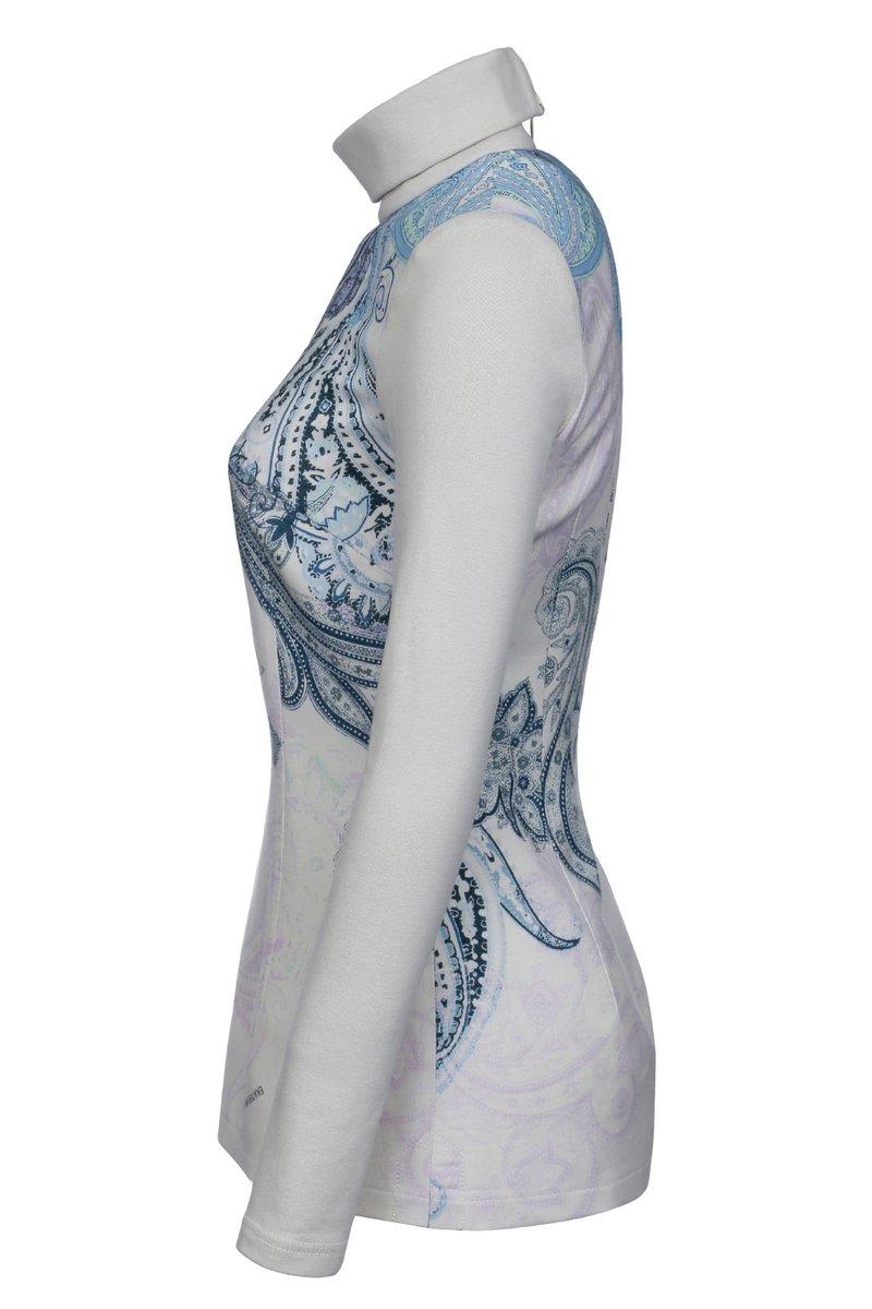 Блуза удлиненная из комбинированной ткани
