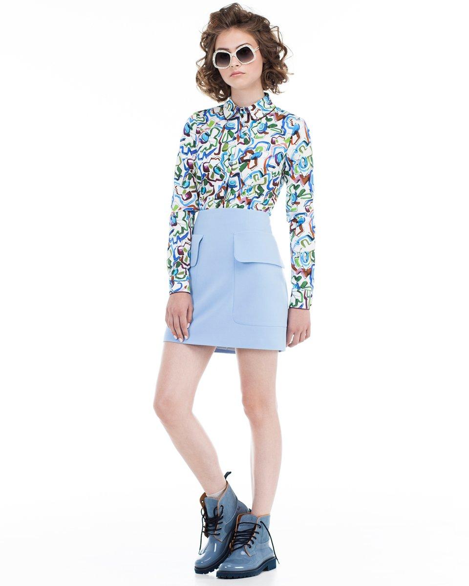 Блуза с акварельным принтом