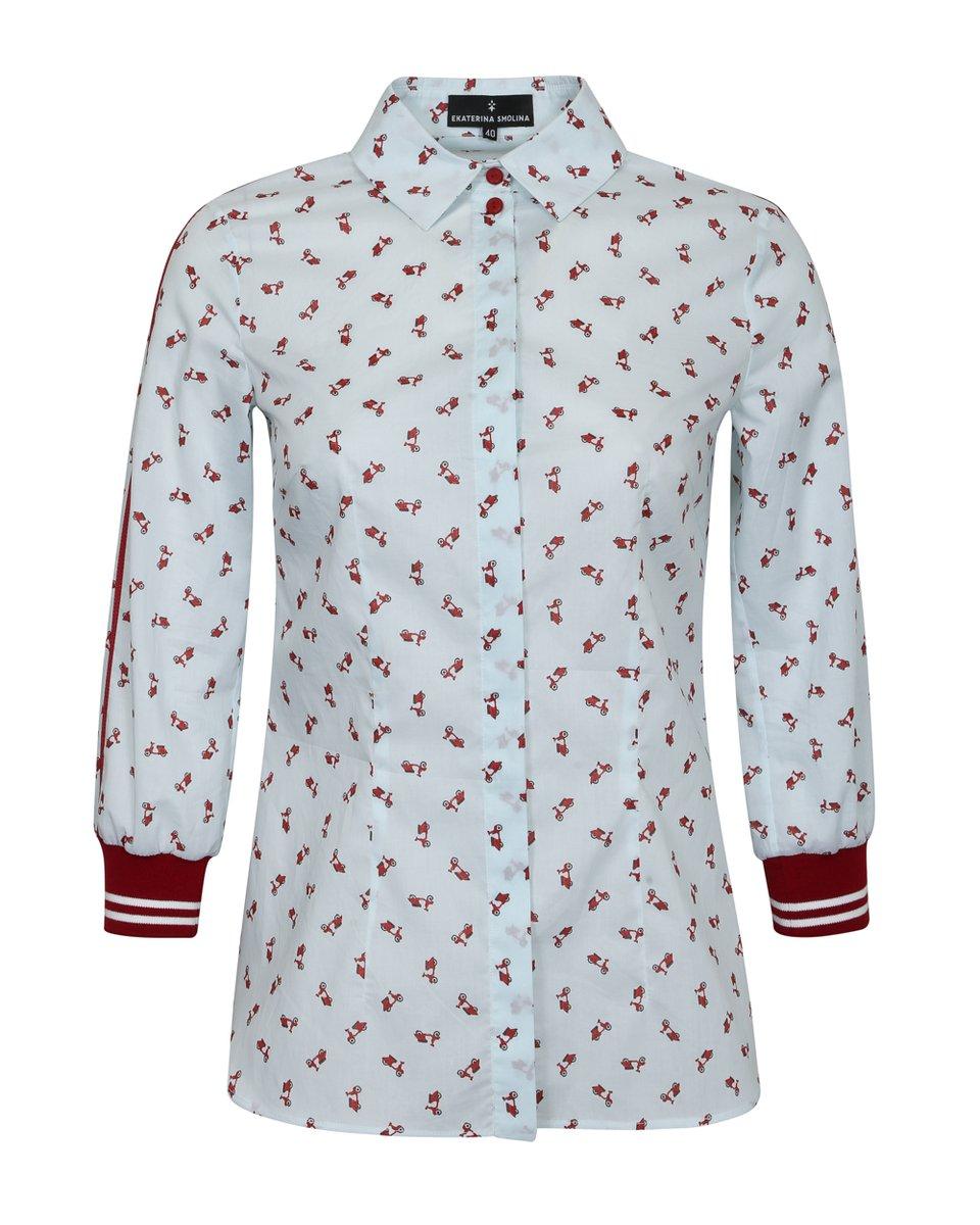 """Блуза с принтом """"красные мопеды"""""""