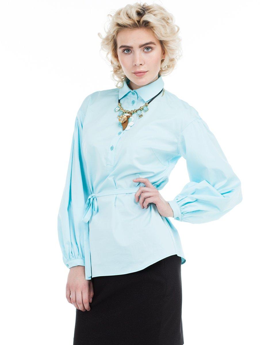Блуза с пышными рукавами, голубая