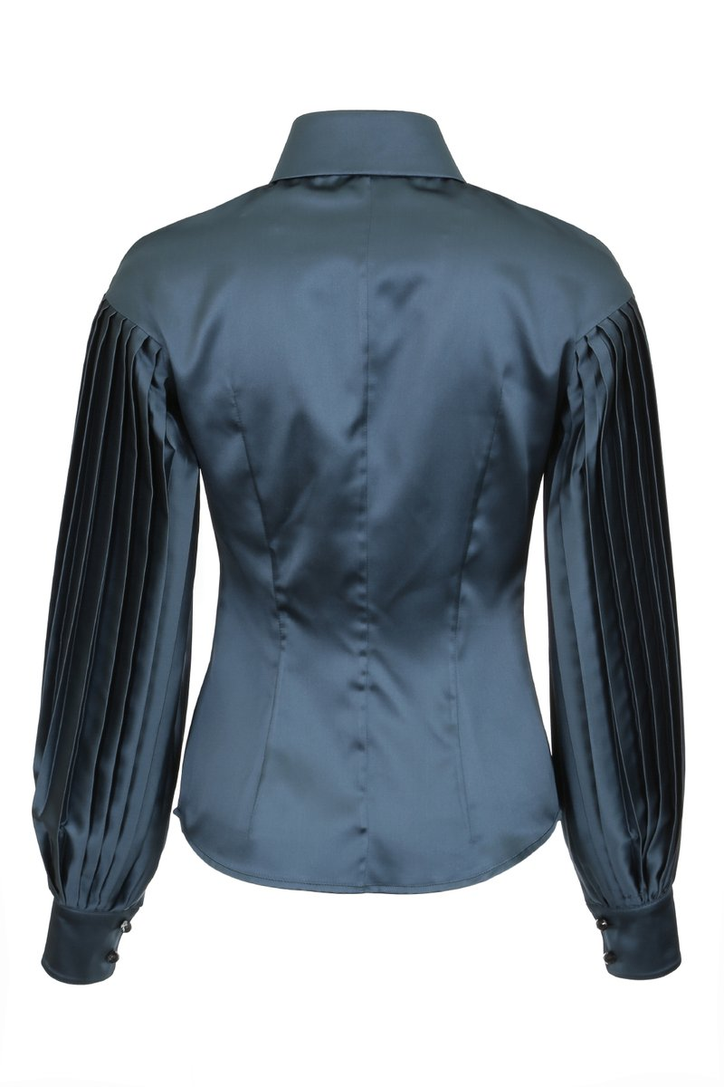 Блуза с рукавами плиссе