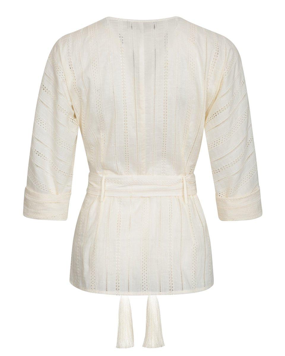 Блуза с шитьем цвета экрю