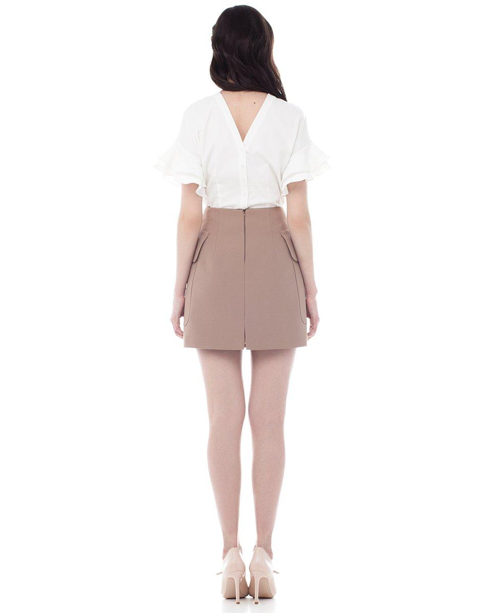 Блуза с воланами на рукавах, белая