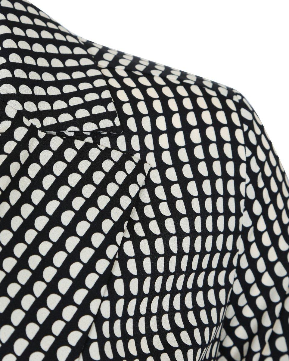 Блуза с удлиненной спинкой и геометрическим принтом