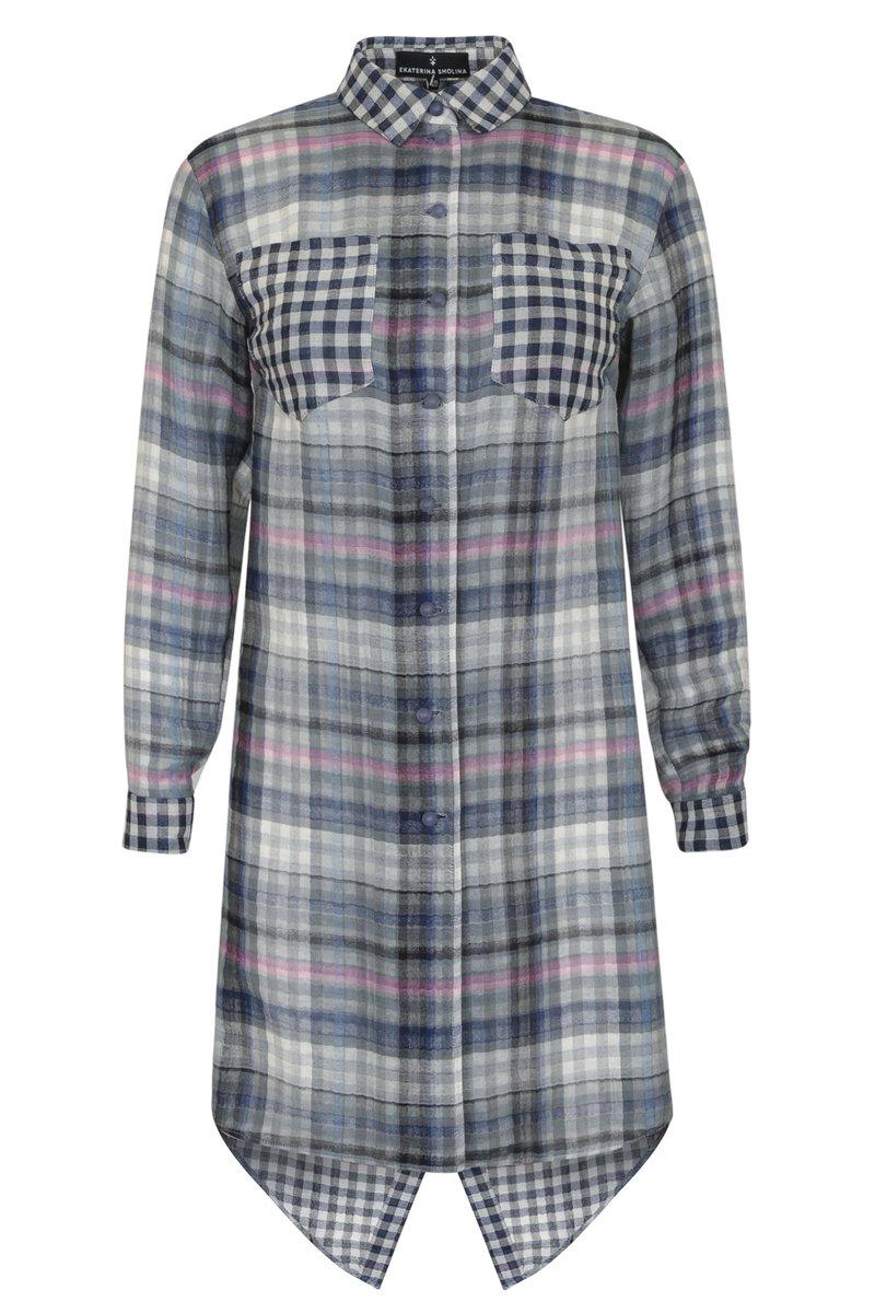 Блуза удлиненная с запахом на спине