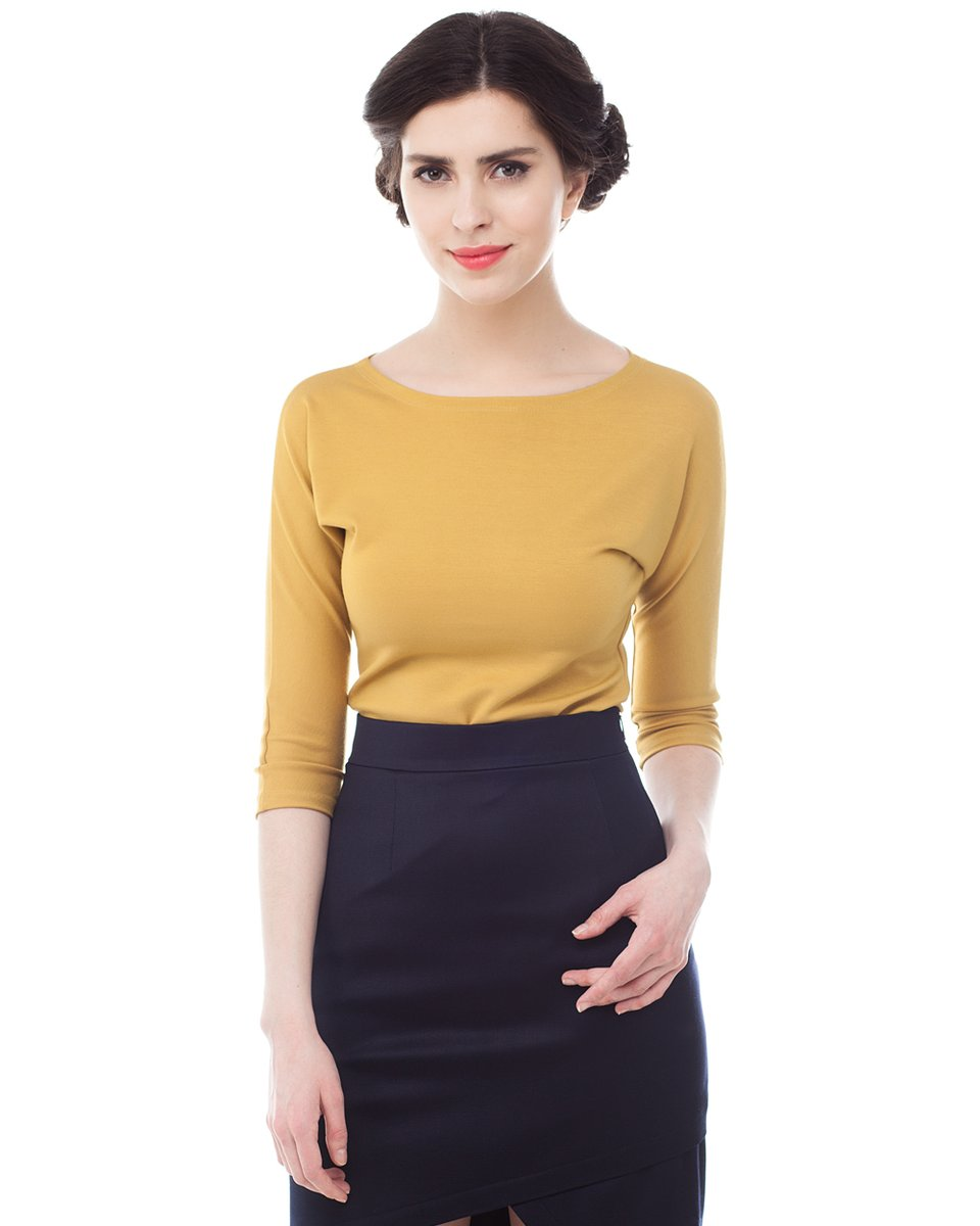 Блуза трикотажная, горчичная
