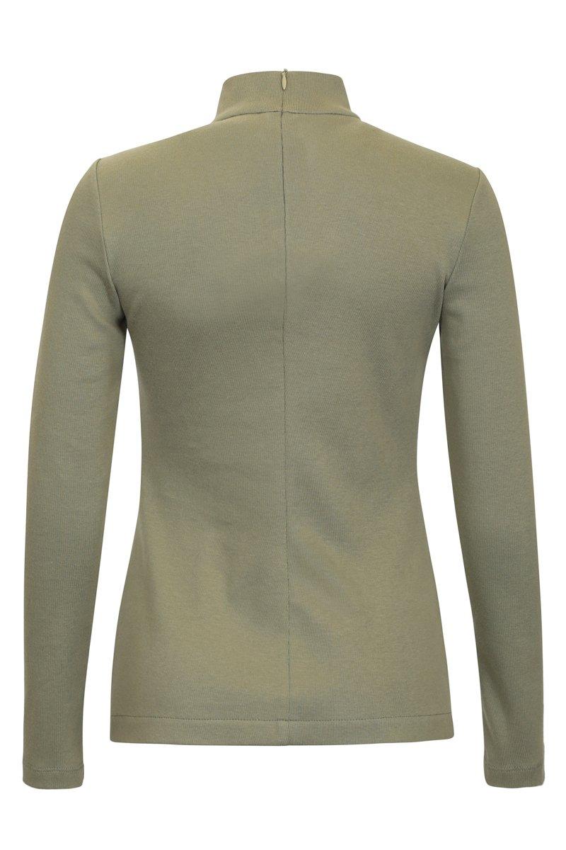 Блуза из плотного трикотажа оливкового цвета