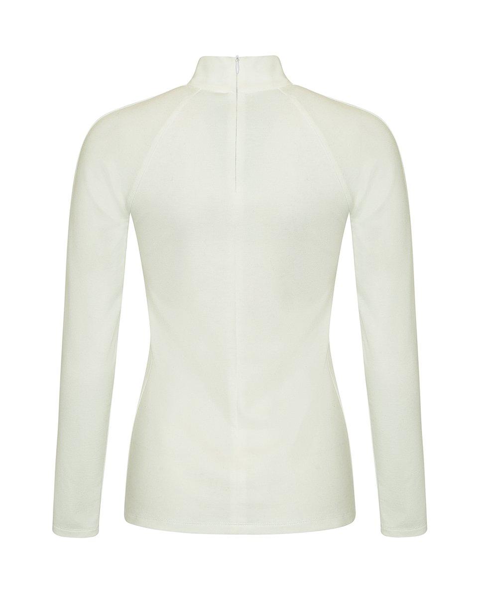 Блуза трикотажная с декоративными складками на полочке белого цвета