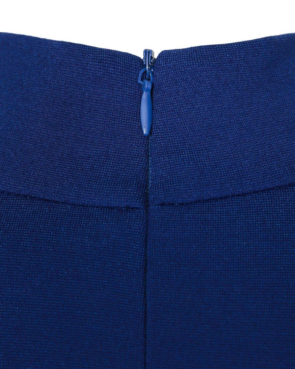 Блуза трикотажная с пышными рукавами синего цвета