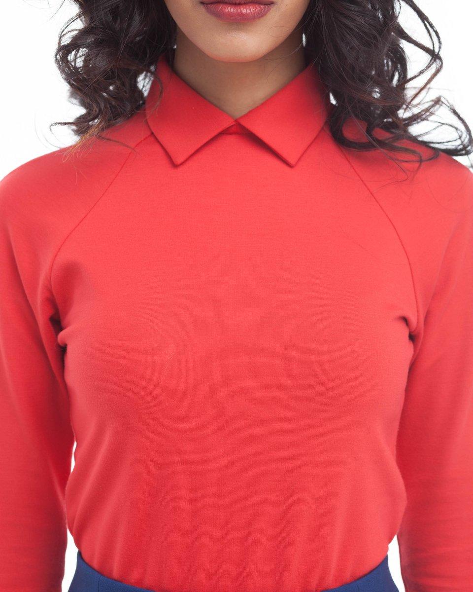 Блуза трикотажная с рукавом-реглан, карминно-красная