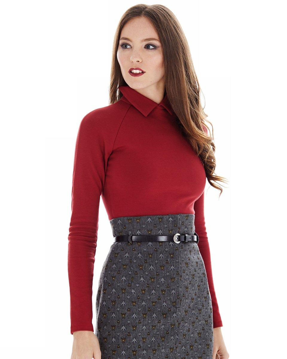 Блуза трикотажная с рукавом-реглан, цвета кармин