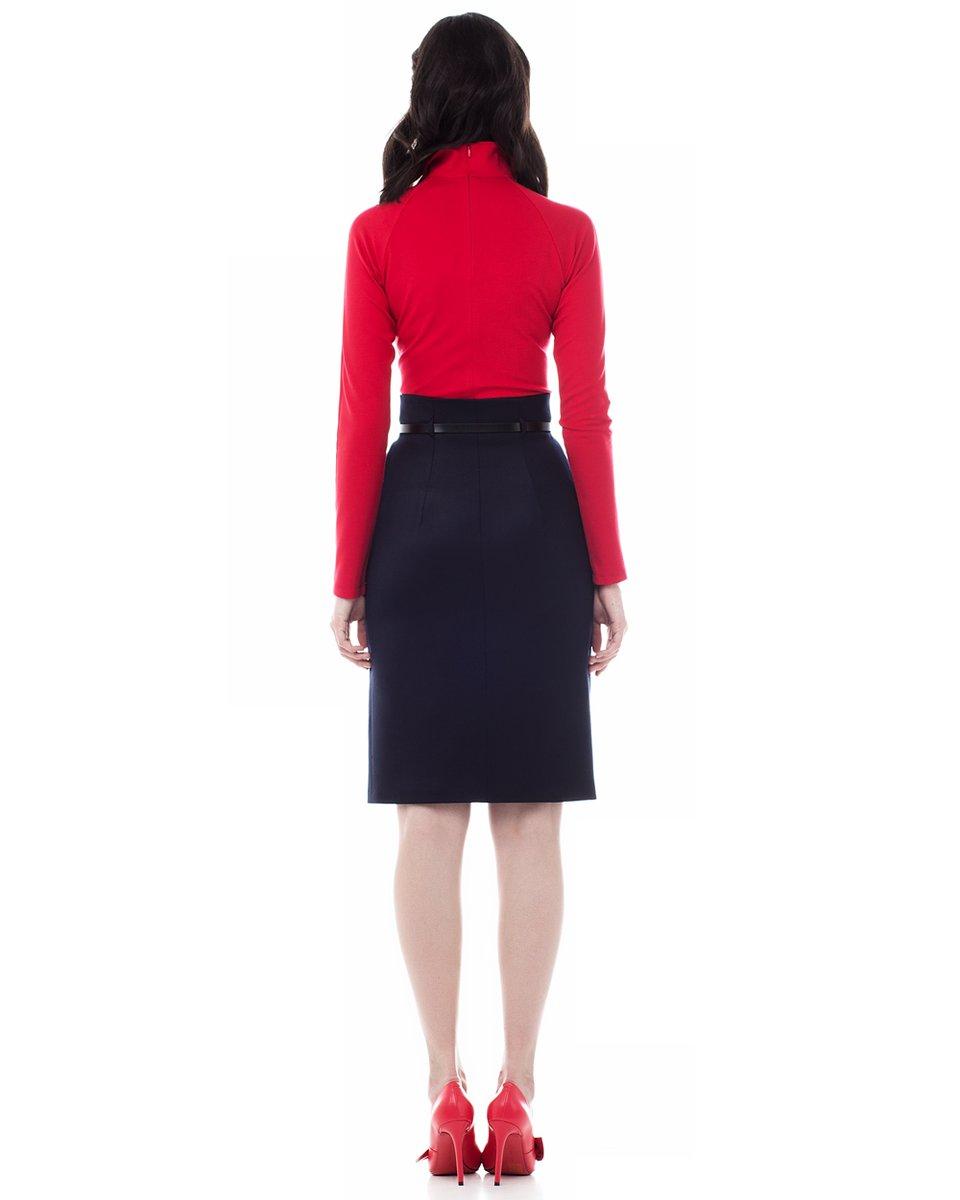 Блуза трикотажная с рукавом-реглан,  красная