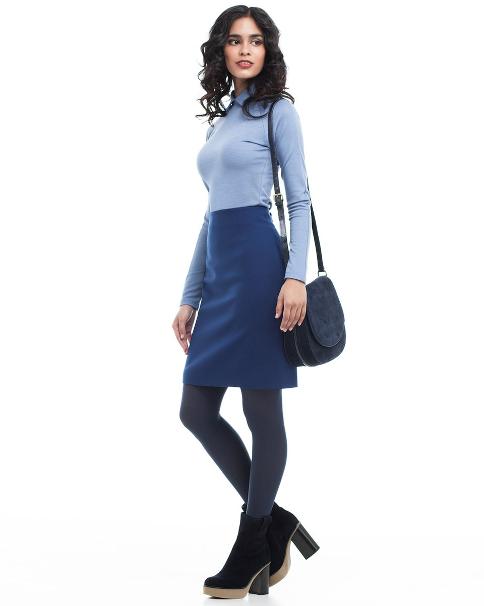 Блуза трикотажная с рукавом-реглан, серо-голубая